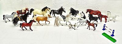 Lot Of 16 Plastic Toy Horses-Vintage Collectibles-Sm/med/lg+Accessories