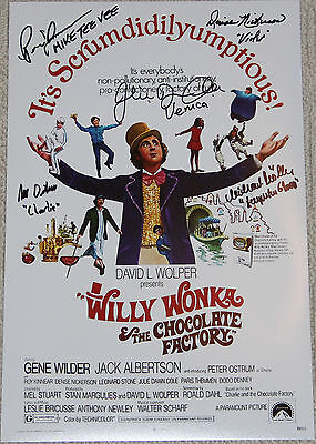 """11"""" X 17"""" Willy Wonka Poster Autographed  By Five + Bonuses!!"""