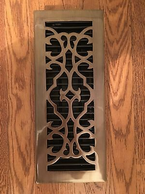 "New Whittington Antique Brass Floor Register with Louvers - 4"" x 12"""