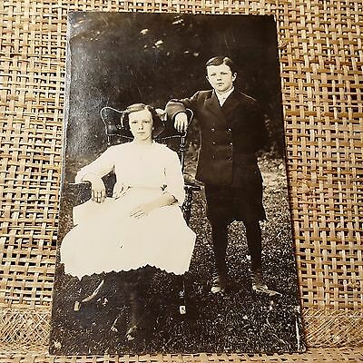 Antique 1911 Posed Brother & Sister Real Photo Postcard RPPC High Button Shoes