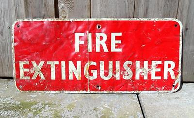 VINTAGE RED TIN FIRE EXTINGUISHER SIGN - SHABBY, WORN, INDUSTRIAL -45.6 x 20.3cm