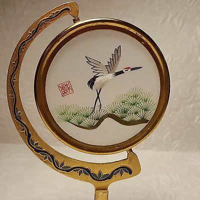 Vintage Chinese SU Suzhou 2-Sided Bird Embroidery Art -Swiveling Cloisonne Stand