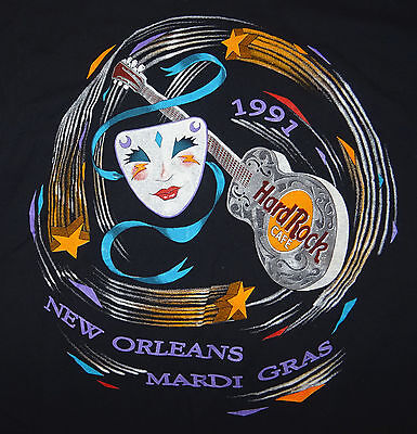 1991 Hard Rock Cafe Mardi Gras New Orleans T-Shirt Size Large
