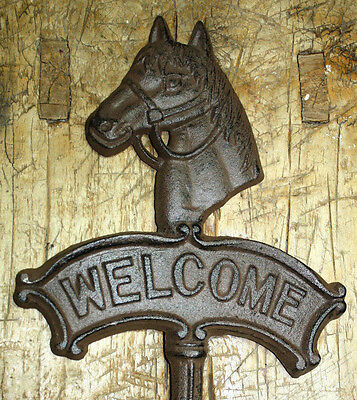 Cast Iron HORSE HEAD WELCOME Sign Garden Stake Home Decor Plaque Western Ranch