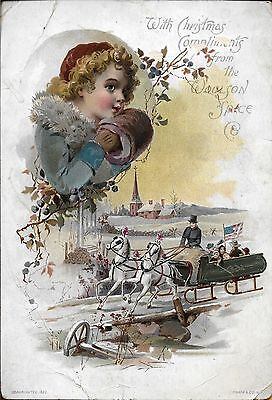 Christmas Victorian Trade Card-Advertising Lion Coffe-Woolson Spice-Toledo,Ohio