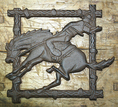 Cast Iron COWBOY BRONCO Plaque Sign Rustic Ranch Western TRIVET Horse Man Cave