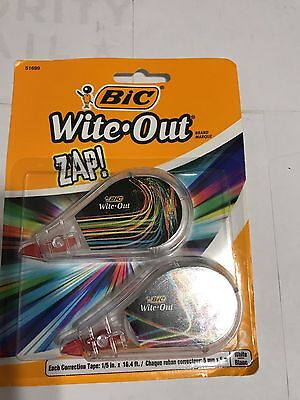 Bic Zap! Wite Out White Correction Tape 2 Pack