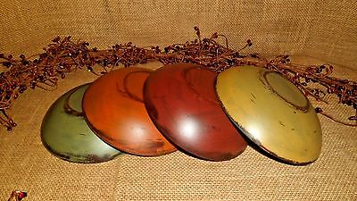 Primitive Painted Fall Wood Bowls Distressed Antiqued Country Home Decor