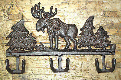 Cast Iron MOOSE Towel Coat Hooks Hat Hook Key Rack CABIN Hunting Camp Lodge Deer