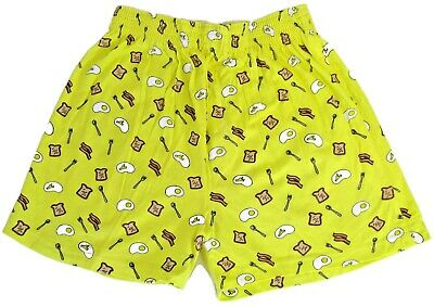 NEW Peace Frogs Breakfast Yellow Boxer Shorts for Adults Bacon Eggs 100% Cotton