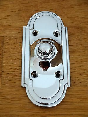 Large Chrome  Art Deco Style Door Bell Push Doorbell Knocker