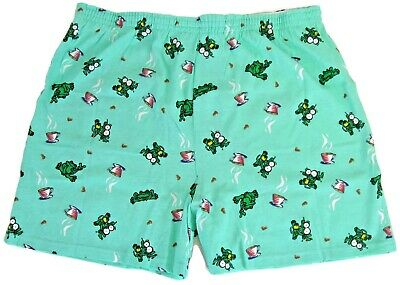 NEW Peace Frogs Coffee Frog Green Boxer Shorts for Adults Novelty %100 Cotton
