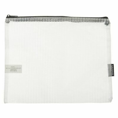 Studymate Single Zip Mesh Pencil Case 250 x 208mm White