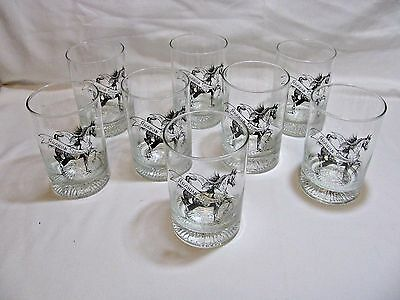 Vtg 1994 ARABIAN Springfest HORSE Show Glass Tumblers, SET OF 8