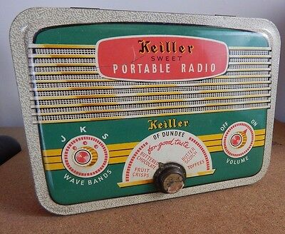 Vintage Keiller of Dundee  Sweet tin  Radio Design with tuning knob lock