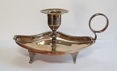 Vtg-Antique Chamber Stick / Candle Holder by Robert Pringle in Silverplate  -Old