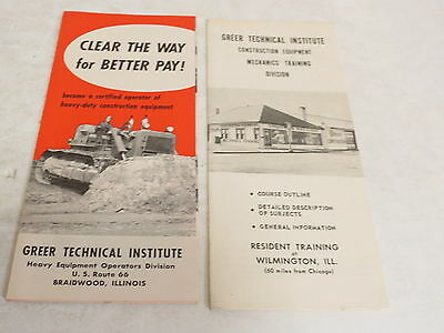 * Vintage Lot Of 2 Greer Technical Institute Construction Tractor Brochures *