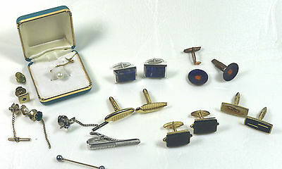 Junk Drawer Men's Jewelry – Lot of 5 Sets of Cuff Links, Tie Clasp, 5 Tie Tacks.