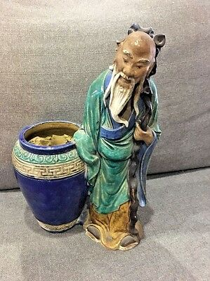 Vintage Chinese Mudman Statue with Vase Hand Painted Signed