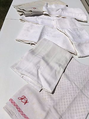 Antique Set of 7 Large Linen Kitchen Towels White with Embroidered Initials