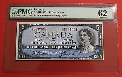 ✪ 1954 $5 Bank of Canada Devil Face F/C - 379.95 PMG UNC 62