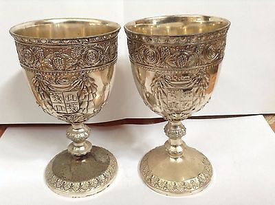 2 Vintage C & Co (Corbel & Company) Silver plated Floral Wine Goblets height: 5""