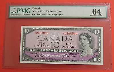 ✪ 1954 $10 Bank of Canada Devil Face I/D - 329.95 PMG Ch UNC 64