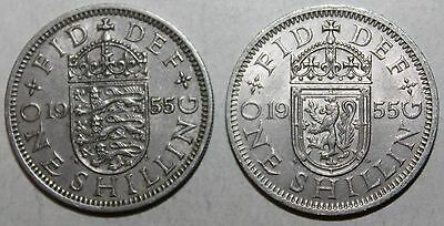 Pair British One Shilling Coins, 1955 - KM# 904/905 - England & Scotland Crests