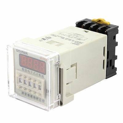 DH48J-8 1-9999 Panel Mount Digital Counter Relay w Base AC/DC 24V 50/60Hz
