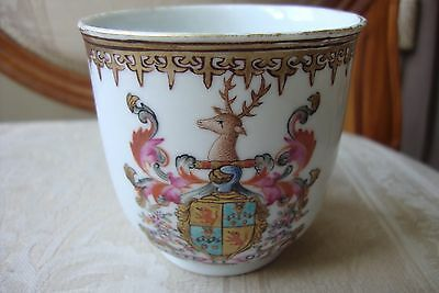 Chinese Famille Rose Scottish Armorial Cup 18c Circa 1760 Rim  Hairlines & Chip