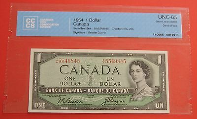 ✪ 1954 $1 Bank of Canada Devil Face T/A Short Run - 249.95 CCCS Gem UNC 65
