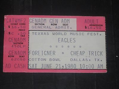 The Eagles*foreigner*cheap Trick 1980 Concert Ticket Stub*texxas Jam*dallas