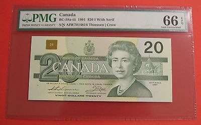 ✪ 1991 $20 Bank of Canada AIW With Serif - 459.95 PMG Gem UNC 66 EPQ