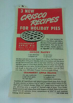 1950 3 New Crisco Recipes For Holiday Pies Advertisement Page