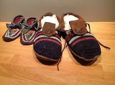 2 Pairs of Beaded Moccasins Small Mohawk and Adult Southern Plains Unusual