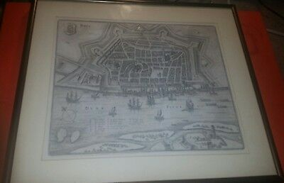 Antique 1637 Framed Map of Riga Latvia