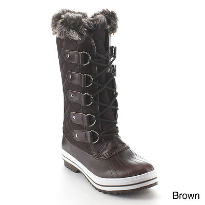 Women's Snow Winter Size 6 1/2 Lace Up Waterproof Quilted Mid Calf Weather Boots