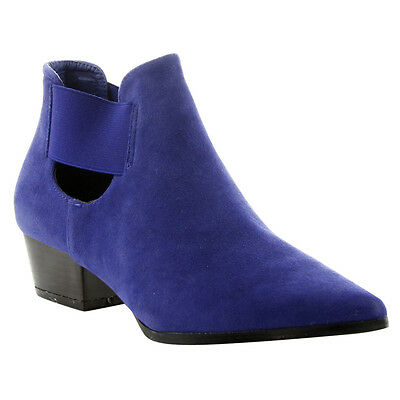 Women's Fashion Size 6 1/2 Chunky Heel Cut Out Ankle Booties Half Size Big BLUE