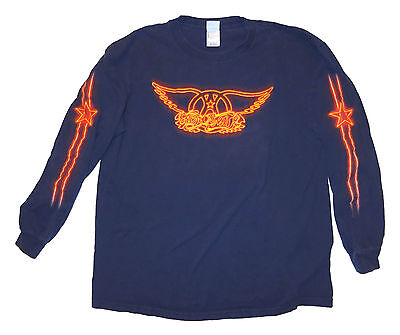 2002 Aerosmith Logo Navy Blue Long Sleeve T-Shirt Size XL Graphics on sleeves