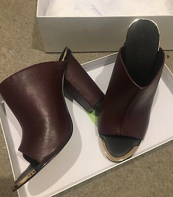 WITCHERY Burgundy Leather Block Heel Mules - Size 39 - New In Box