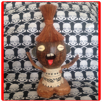 Fijian Coconut Head Doll of a Native Warrior - Polynesian and Melanesian