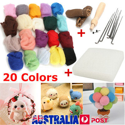 20 Color Wool Needles Felt Tool Set + Needle Felting Mat Starter Kit DIY Craft
