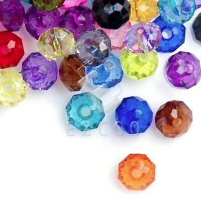 100pcs Acrylic Transparent Faceted Round Beads Jewellery 8x8mm Multicolour