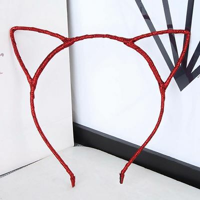 Red  WIRE CAT EARS COSTUME HEADBAND HAIRBAND Punk Party Hair Band Women Girls