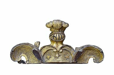 French Antique 18th Hand Carved Gilt Wood Pediment Cornice Armor Helmet