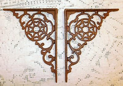 NEW~Set of 2 Spider Web Design Cast Iron Shelf Brackets~Medieval Wall Decor