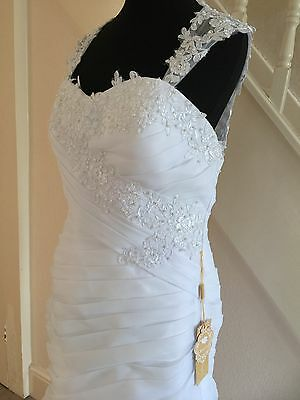Wedding Dress-BNWT-White-12-Lace-Fitted