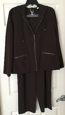Chicos Zenergy Pants & Jacket Outfit Size 1 And 2 Dark Brown