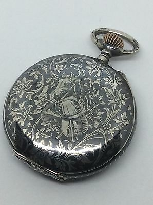 Men's Solid Silver Niello Antique Pocket Watch Horse Equestrian