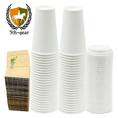 Durable White Paper Hot Coffee Cups with Cappuccino Lids and Protective...